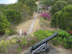 Looking down at canon and walking path to Gun Hill Signal Station in Barbados.jpg