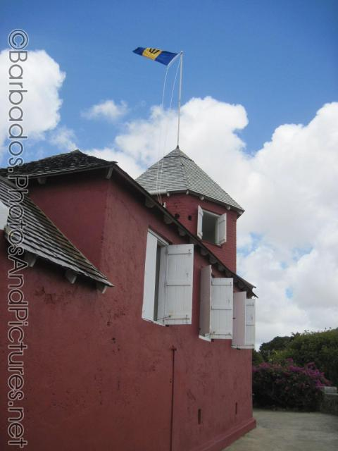 Red building with white shutters at Gun Hill Signal Station in Barbados.jpg